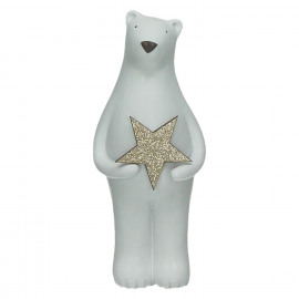 BOBBY - bear with star - resin - L 10 x W 8,5 x H 20,5 cm - white