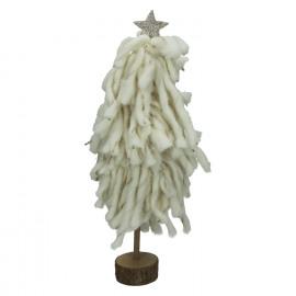 PLUMP' - kerstboom - wol/hout - wit - M - Ø18xh42 cm