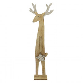 RUDOLF - hert - hout - naturel - L - 18,5x6,5xh60 cm
