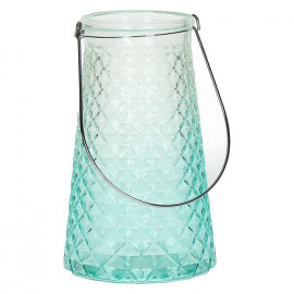 HORIZON - Lantarn - Glas - Aqua - Metaal handvat - Ø 14 x 22,5 cm