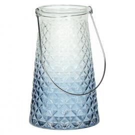 HORIZON - Lantarn - Glas - Blauw - Metaal handvat - Ø 14 x 22,5 cm