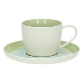 PORCELINO AQUATIC - PORCELINO AQUATIC - S/Tasse/thé/capuccino -  porcelaine - nuances vert et bleu aquatique - DIA 14 - H 6 cm - porcelaine - DIA 14 x H 6 cm
