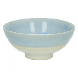 MEDITATION - coupelle creme - porcelaine - émail réactif - nuances de bleu ciel - Dia 13 cm