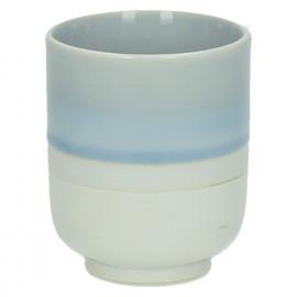 MEDITATION - gobelet à thé - porcelaine - émail réactif - nuances de bleu ciel - Dia 6,5x8 cm