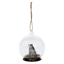 BLING' BEAR - kersthanger beer - glas/hars - goud - Ø8xh9 cm