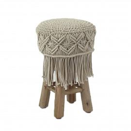 ANNA - stool - macramé / wood - DIA 30 x H 45 cm