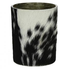 CALA - windlicht - glas/geitevel - L - dia 10x13 cm
