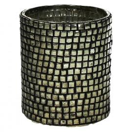 STREET - Windlicht - glas/parels - antic silver - S - dia8x8 cm