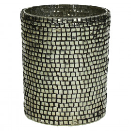 STREET - Photophore - verre/perles - antic silver-  L - dia 10x13 cm