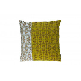 PARISIAN- Cushion - Velvet blockprinted - skyblue/massala/lime - 45x45 cm