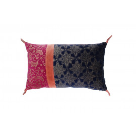 PANDORE - Cushion - Velvet blockprinted - night blue/massala/strawberry - 30x50 cm