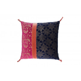 PANDORE - Kussen - Fluweel blockprinted - night blue/massala/strawberry - 45x45 cm