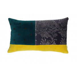 PANDORE -Kussen - fluweel blockprinted - purple/teal/yellow - 30x50 cm