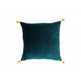 PANDORE - Coussin - velours blockprinted - purple/teal/yellow - 45x45 cm