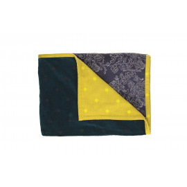 PANDORE - Plaid - fluweel blockprinted - purple/teal/yellow - 130x170 cm