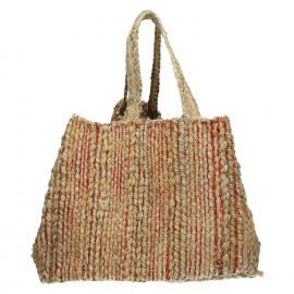 MADAGASCAR - wood bag - jute - natural/red - 40x40xh40 cm