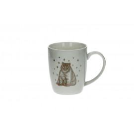ERNEST - gift box 4 mugs- Porselein - Teddy bear print /gold - dia8,5x10 cm