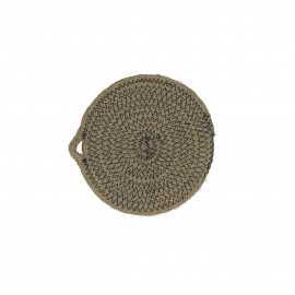 NATURE - placemat - jute/cotton - natural/dark blue - S - Ø15 cm