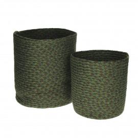 CAMO - set/2 manden - jute/katoen - camouflagegroen - S:Ø22xh22  L:Ø30xh30 cm