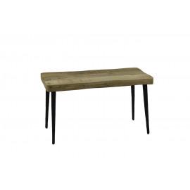 LEGNO - bank - mango hout/metaal - naturel/zwart - 75x35xh43 cm