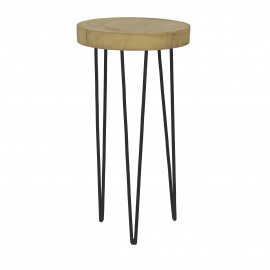 SO PURE - stool - palownia/metal - natural/black - L - Ø35xh65 cm