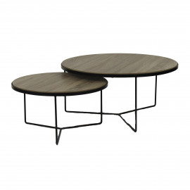 MISO - set/2 coffee tables - oak veneer/metal - natural - S:Ø60xh32 cm  L:Ø80xh38 cm
