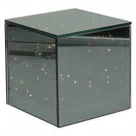 SHINE IN - Glass cube with LED chain - 15 lights - two-way mirror - 12x12x12 cm