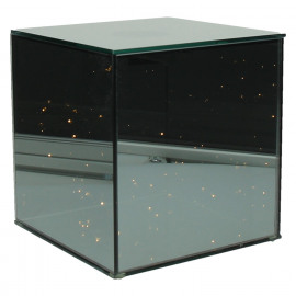 SHINE IN - Glass cube with LED chain - 20 lights - two-way mirror - 20x20x21 cm