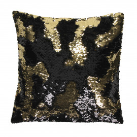 TRACY - déco coussin - coton/sequins - black/gold - 40x40 cm