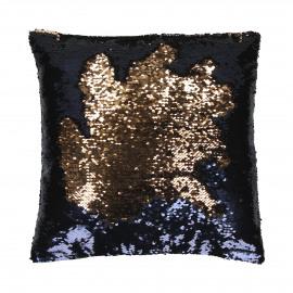 TRACY - déco coussin - coton/sequins - bleu/or - 40x40 cm