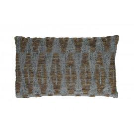 OCEAN - deco kussen - 100% katoen - grijsblauw/bruin - 50x30 cm
