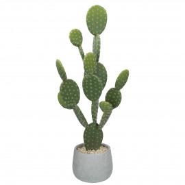 CACTUS - cactus artificiel en pot de ciment - vert - h67 cm