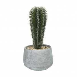 CACTUS - artificial cactus in cement pot - green - h23,5 cm