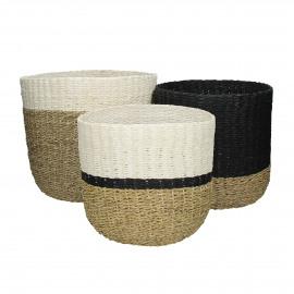 OAHU - set/3 manden - zeegras/papier - naturel/zwart/wit - S:Ø28xh28  M:Ø30xh28  L:Ø33xh30 cm