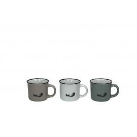 PLUM' - Gift box 6 tassen - aardewerk - verschillende kleuren - S - dia 6x5,5 cm