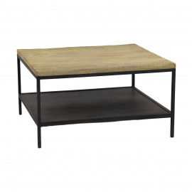 MARCEL - coffee table - metal/mango wood - M - 70x70xh38 cm