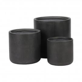 CIL - set/3 potten - fibre clay - donkergrijs - S:Ø27xh25  M:Ø34xh32  L:Ø42xh41