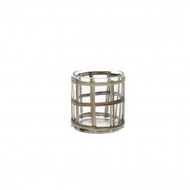 VALENTIN - windlicht - glas/rotan - S - Ø7xh7 cm