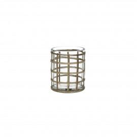 VALENTIN - windlicht - glas/rotan - M - Ø10xh12 cm