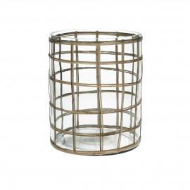 VALENTIN - windlicht - glas/rotan - L - Ø17xh21 cm
