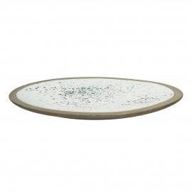 BOLDNESS - decoratief dienblad met kleine verfvlekjes - Terracotta - Wit en zwart - Dia 40x8 cm