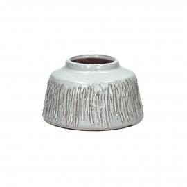 FIGURE - Vaas met rauwe strepen - Terracotta - Wit S - dia 11,5x6,5 cm