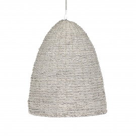 BORIE- hanglamp - hennep touw + metaal - white wash - E27 - dia 43x52 cm