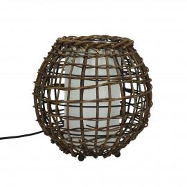 BUNGALOW - tafellamp - ijzer / ratan - E27- M - dia21x22 cm