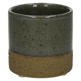 SUNA - cache pot - composite de sable - DIA 7,5 x H 7,2 cm - gris