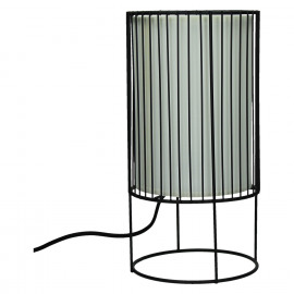 SPIRITUAL-Table lamp-Black iron-E27-Shade White pvc-M-dia 16.5 x 32 cm