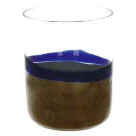 NUANCE-Windlicht-Gemengde glas-Blauw-Zilver-dia 9 x 10 cm