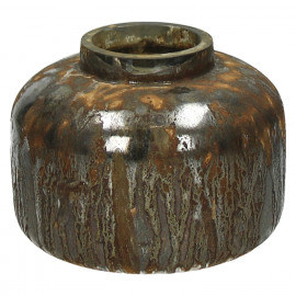 FELICE-Vaas-Glas-Geoxideerde afwerking-Grijs-M- dia 18 x 14 cm