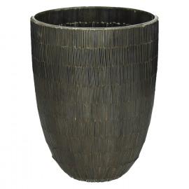 CARLITA-Vase-Glass mosaic-Brown-L- dia 18 x24 cm