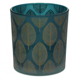 CHIC ' LEAF - T/light-Glas-Gouden bladeren- S- dia 7.3 x 8 cm - blauw